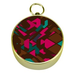 Brown Pink Blue Shapes 			gold Compass by LalyLauraFLM