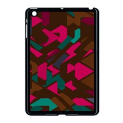 Brown Pink Blue Shapes 			apple Ipad Mini Case (black) by LalyLauraFLM