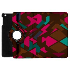 Brown Pink Blue Shapes 			apple Ipad Mini Flip 360 Case by LalyLauraFLM