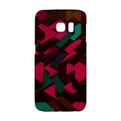 Brown Pink Blue Shapes 			samsung Galaxy S6 Edge Hardshell Case by LalyLauraFLM