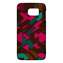 Brown Pink Blue Shapes 			samsung Galaxy S6 Hardshell Case by LalyLauraFLM
