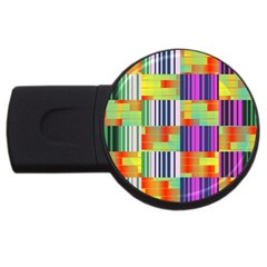 Vertical And Horizontal Stripes 			usb Flash Drive Round (4 Gb) by LalyLauraFLM