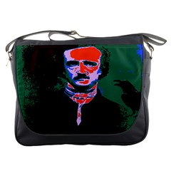 Edgar Allan Poe Pop Art  Messenger Bags by icarusismartdesigns