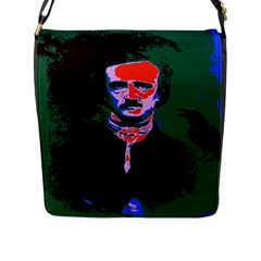 Edgar Allan Poe Pop Art  Flap Messenger Bag (l)  by icarusismartdesigns