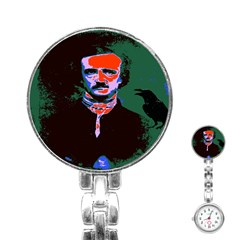 Edgar Allan Poe Pop Art  Stainless Steel Nurses Watches by icarusismartdesigns