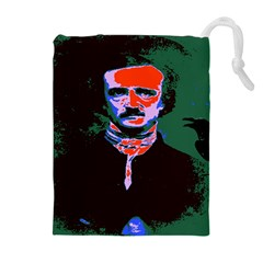 Edgar Allan Poe Pop Art  Drawstring Pouches (extra Large) by icarusismartdesigns