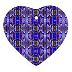 Blue White Abstract Flower Pattern Ornament (heart)  by Costasonlineshop