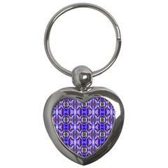 Blue White Abstract Flower Pattern Key Chains (heart)  by Costasonlineshop