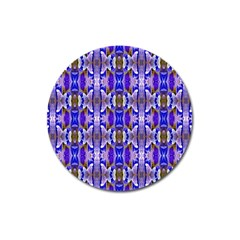 Blue White Abstract Flower Pattern Magnet 3  (round) by Costasonlineshop