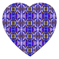 Blue White Abstract Flower Pattern Jigsaw Puzzle (heart) by Costasonlineshop