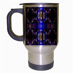 Blue White Abstract Flower Pattern Travel Mug (silver Gray) by Costasonlineshop