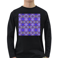 Blue White Abstract Flower Pattern Long Sleeve Dark T Shirts by Costasonlineshop