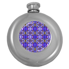 Blue White Abstract Flower Pattern Round Hip Flask (5 Oz) by Costasonlineshop
