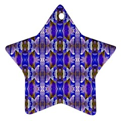 Blue White Abstract Flower Pattern Star Ornament (two Sides)  by Costasonlineshop