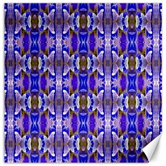 Blue White Abstract Flower Pattern Canvas 20  X 20   by Costasonlineshop