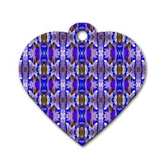 Blue White Abstract Flower Pattern Dog Tag Heart (two Sides) by Costasonlineshop