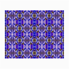 Blue White Abstract Flower Pattern Small Glasses Cloth (2 Side) by Costasonlineshop