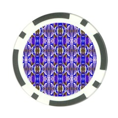 Blue White Abstract Flower Pattern Poker Chip Card Guards by Costasonlineshop