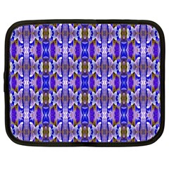 Blue White Abstract Flower Pattern Netbook Case (xl)  by Costasonlineshop