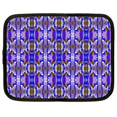 Blue White Abstract Flower Pattern Netbook Case (xxl)  by Costasonlineshop