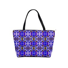 Blue White Abstract Flower Pattern Shoulder Handbags by Costasonlineshop