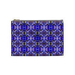 Blue White Abstract Flower Pattern Cosmetic Bag (medium)  by Costasonlineshop