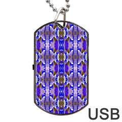 Blue White Abstract Flower Pattern Dog Tag Usb Flash (two Sides)
