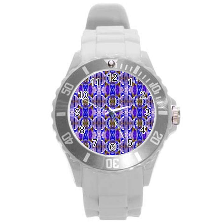 Blue White Abstract Flower Pattern Round Plastic Sport Watch (L)
