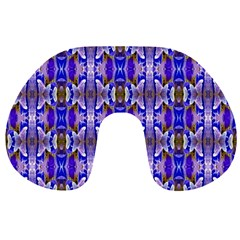 Blue White Abstract Flower Pattern Travel Neck Pillows