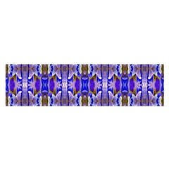 Blue White Abstract Flower Pattern Satin Scarf (oblong) by Costasonlineshop