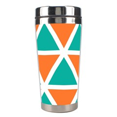 Orange Green Triangles Pattern Stainless Steel Travel Tumbler by LalyLauraFLM