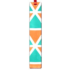 Orange Green Triangles Pattern 			large Book Mark by LalyLauraFLM