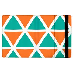 Orange Green Triangles Pattern 			apple Ipad 3/4 Flip Case by LalyLauraFLM