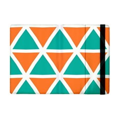 Orange Green Triangles Pattern 			apple Ipad Mini Flip Case by LalyLauraFLM