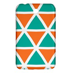 Orange Green Triangles Pattern 			samsung Galaxy Tab 3 (7 ) P3200 Hardshell Case by LalyLauraFLM
