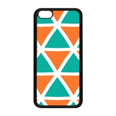 Orange Green Triangles Pattern 			apple Iphone 5c Seamless Case (black) by LalyLauraFLM