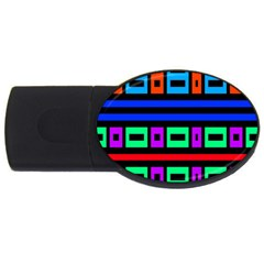 Rectangles And Stripes 			usb Flash Drive Oval (4 Gb) by LalyLauraFLM
