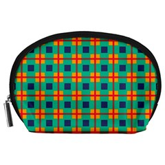 Squares In Retro Colors Pattern Accessory Pouch by LalyLauraFLM