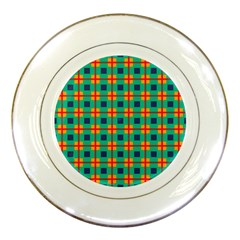 Squares In Retro Colors Pattern 			porcelain Plate by LalyLauraFLM