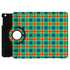 Squares In Retro Colors Pattern 			apple Ipad Mini Flip 360 Case by LalyLauraFLM