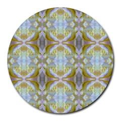 Beautiful White Yellow Rose Pattern Round Mousepads by Costasonlineshop