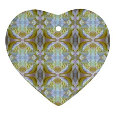 Beautiful White Yellow Rose Pattern Ornament (heart)  by Costasonlineshop