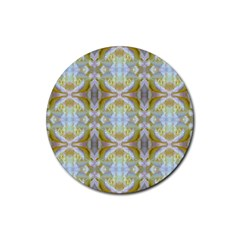 Beautiful White Yellow Rose Pattern Rubber Coaster (round)  by Costasonlineshop