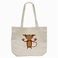 Female Monkey With Flower Tote Bag (cream)  by ilovecotton