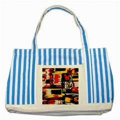 Distorted Shapes In Retro Colors 			striped Blue Tote Bag by LalyLauraFLM