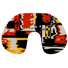 Distorted Shapes In Retro Colors Travel Neck Pillow by LalyLauraFLM