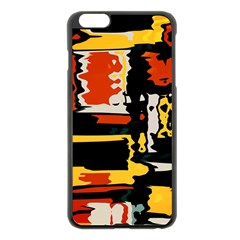 Distorted Shapes In Retro Colors 			apple Iphone 6 Plus/6s Plus Black Enamel Case by LalyLauraFLM