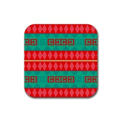 Rhombus Stripes And Other Shapes 			rubber Square Coaster (4 Pack by LalyLauraFLM