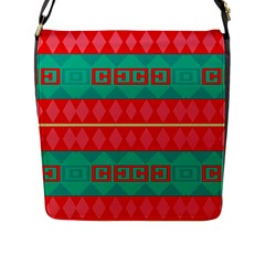 Rhombus Stripes And Other Shapes 			flap Closure Messenger Bag (l) by LalyLauraFLM