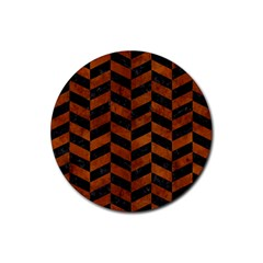 Chevron1 Black Marble & Brown Burl Wood Rubber Coaster (round)
